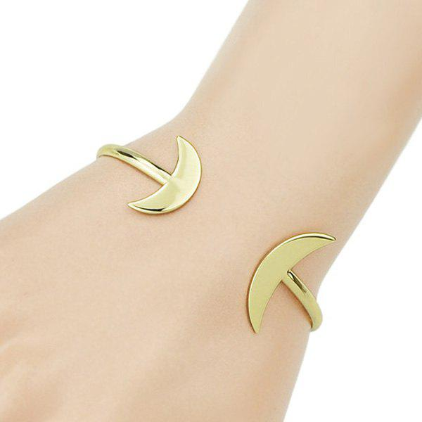 Chic Small Moon Shape Embellished Women's Golden Bracelet