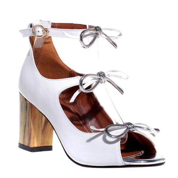 Stylish Bowknot and Chunky Heel Design Women's Sandals - WHITE 39