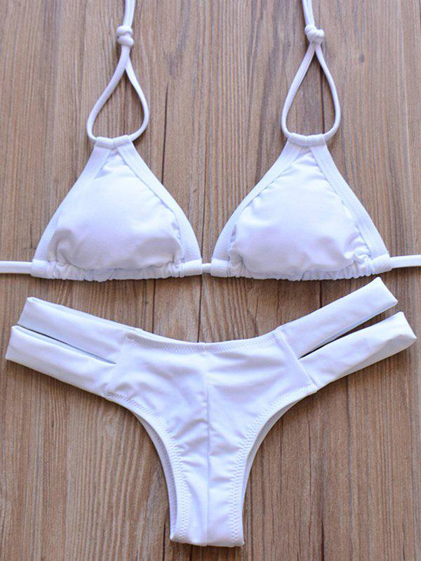 Elegant Women's Halter Solid Color Hollow Out Bikini Set - WHITE S