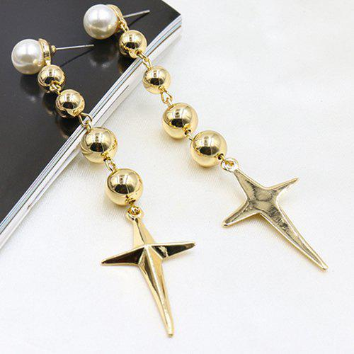 Pair of Star Faux Pearl Drop Earrings - GOLDEN
