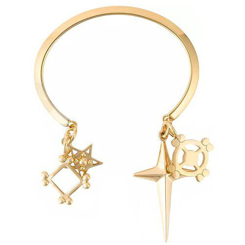 Cross Pentagram Cuff Bracelet - GOLDEN