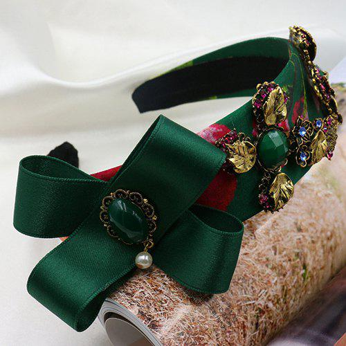 Graceful Faux Pearl Leaf Floral Hairband For Women - GREEN