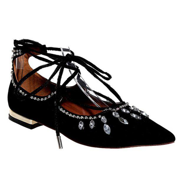 Graceful Rhinestone and Lace-Up Design Women's Flat Shoes - BLACK 38