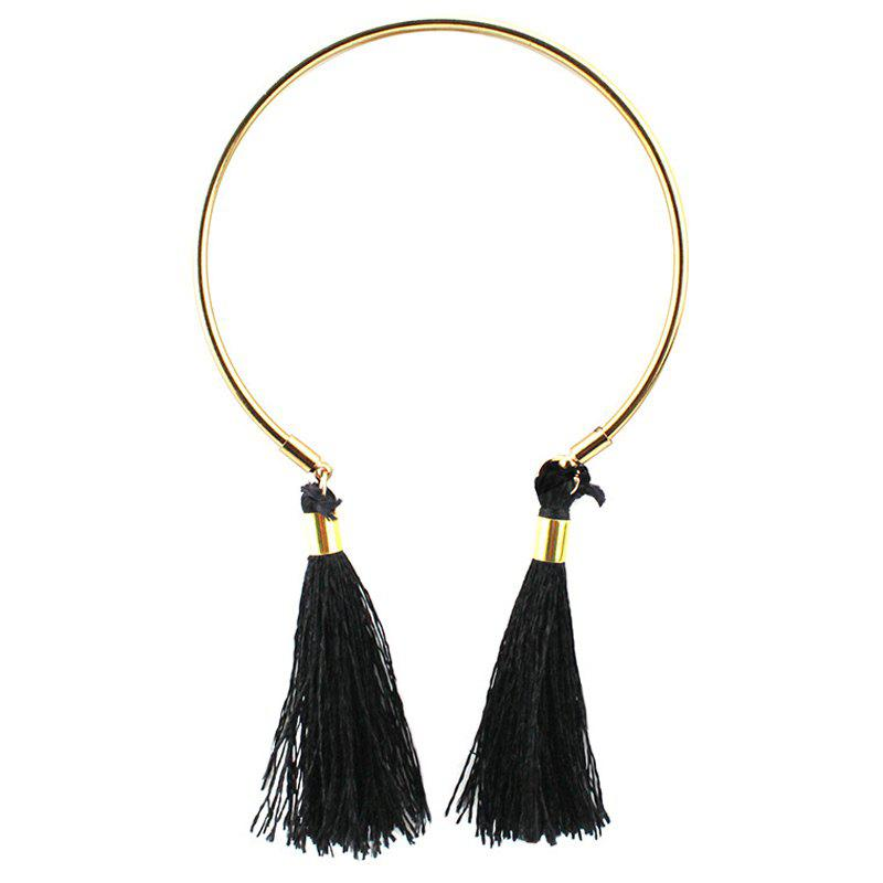 Retro Adjustable Tassel Cuff Bracelet - BLACK