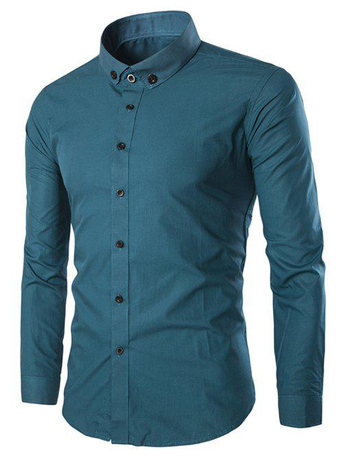 Fashion Solid Color Long Sleeves Men's Shirts - BLUE L