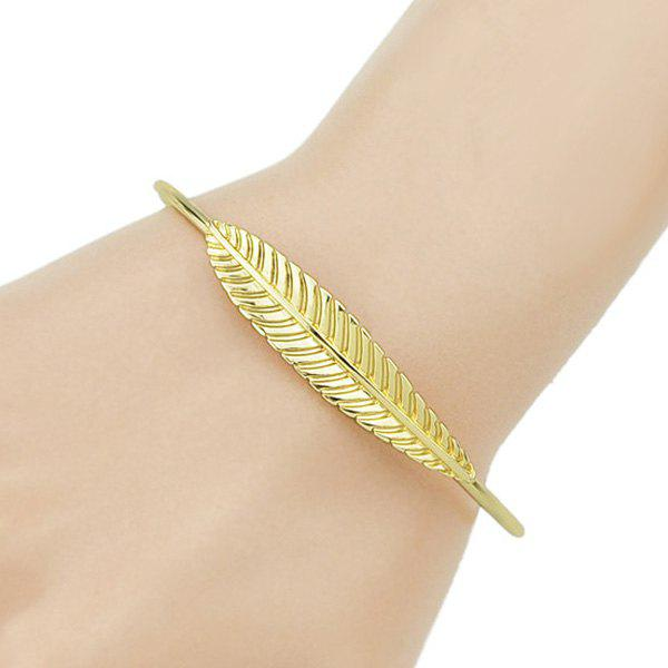 Leaf Shape Embellished Alloy Cuff Bracelet - GOLDEN