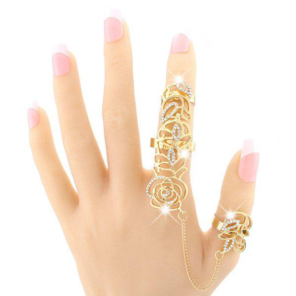 Vintage Rhinestone Hollow Out Rose Double Full Fingers Ring - GOLDEN