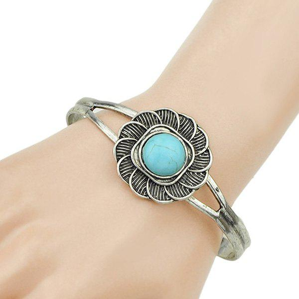 Faux Turquoise Embellished Floral Cuff Bracelet - SILVER