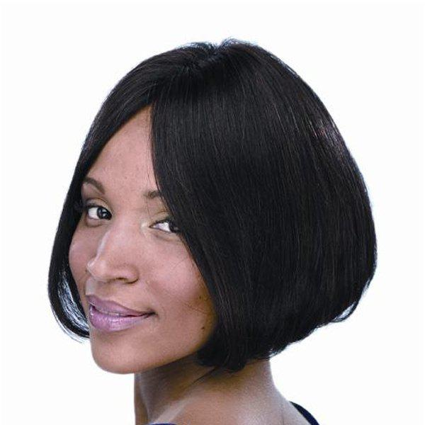 Graceful Straight Black Centre Parting Short Synthetic Wig For Women - BLACK