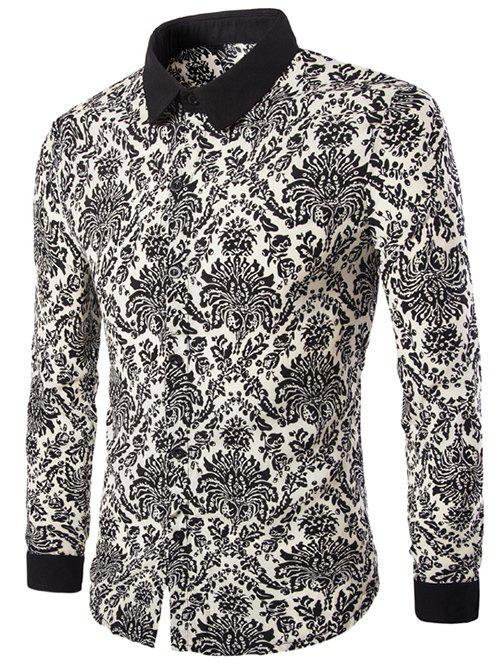 Fashion Printing Long Sleeves Men's Shirts - BLACK L