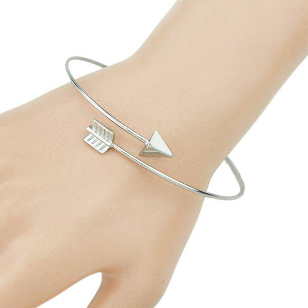 Chic Arrow Shape Embellished Women's Silver Cuff Bracelet