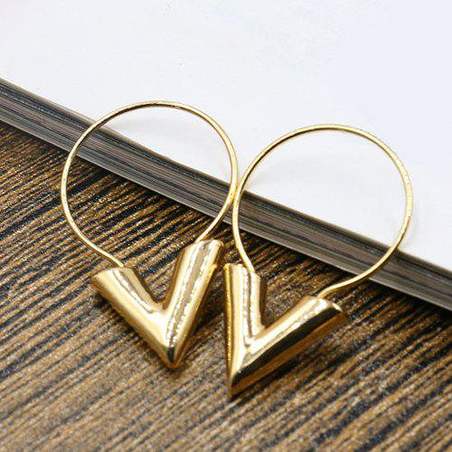 Pair of Vintage Alloy V-Shaped Earrings For Women - GOLDEN