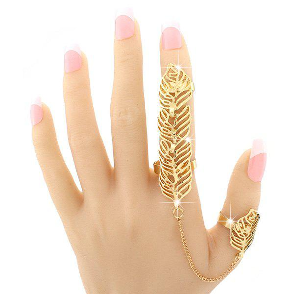 Vintage Hollow Out Leaf Double Full Fingers Ring For Women