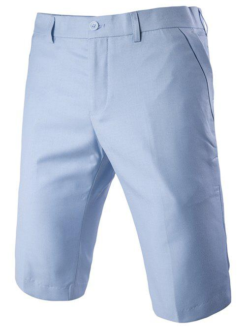 Men's Casual Straight Legs Zip Fly Solid Color Shorts - LAKE BLUE M