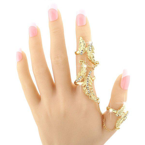 Leaf Rhinestone Double Full Fingers Ring - GOLDEN