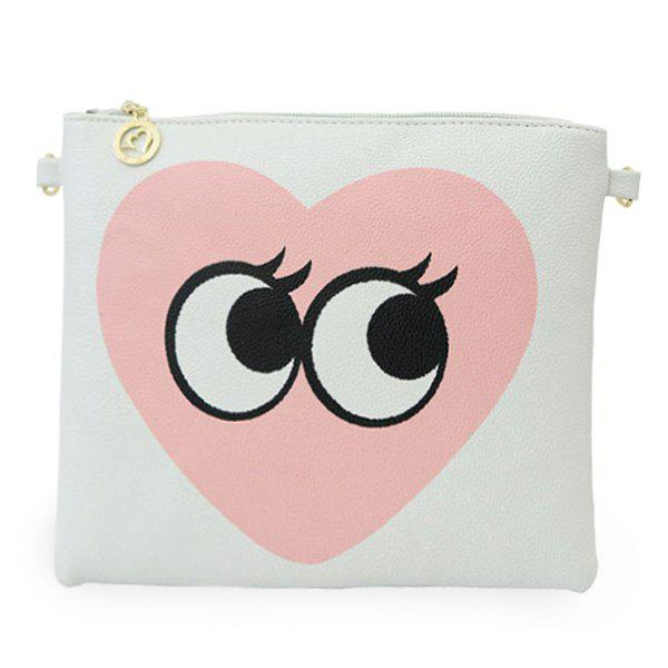 Casual PU Leather and Heart Pattern Design Women's Crossbody Bag - WHITE