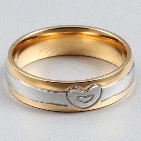 ONE PIECE Simple Heart-Shaped Alloy Lover Couple Ring For Women - GOLDEN