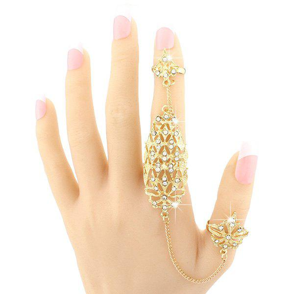 Vintage Rhinestone Hollow Out Geometric Double Full Fingers Ring For Women