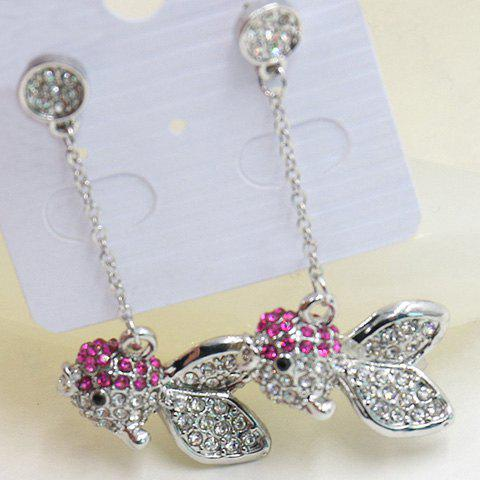 Pair of Stunning Rhinestoned Goldfish Earrings For Women - SILVER