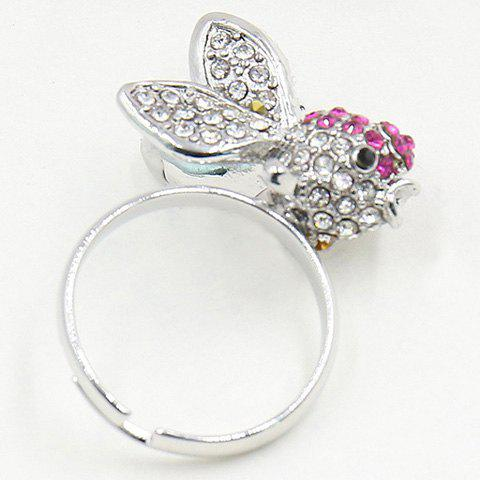 Stunning Rhinestoned Goldfish Ring For Women - ONE-SIZE SILVER