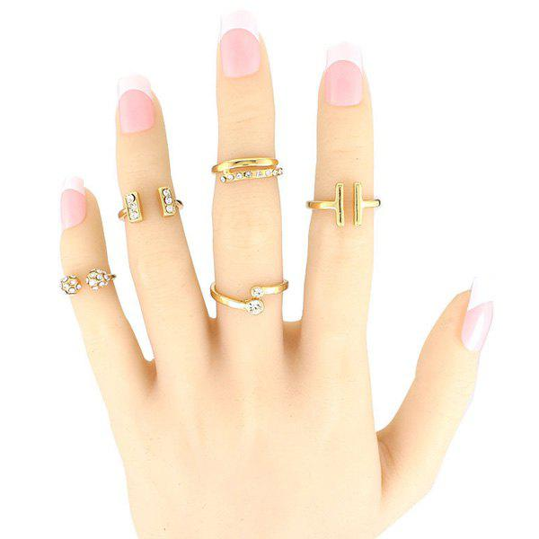 5 Pcs/Set Rhinestone Geometric Cuff Rings rhinestone detail layered rings set 3pcs