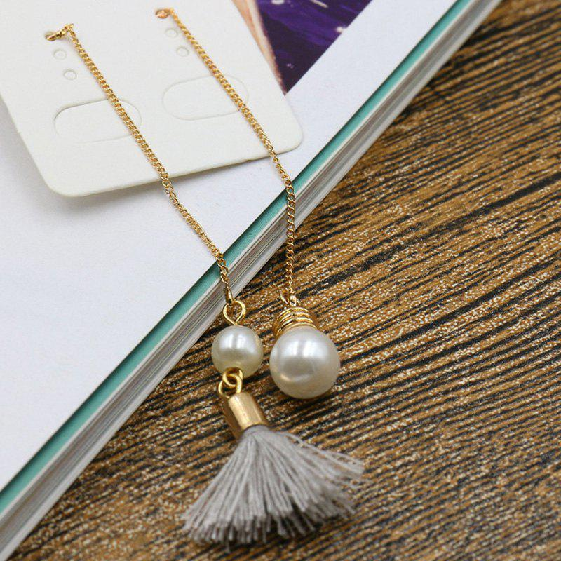 Pair of Chic Asymmetric Faux Pearl Tassel Earrings For Women - GOLDEN