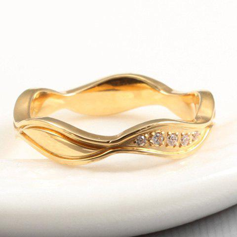 Floral Rhinestone Alloy Ring - GOLDEN