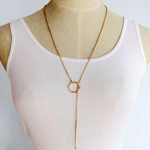 Simple Solid Color Rhombus Long Necklace For Women