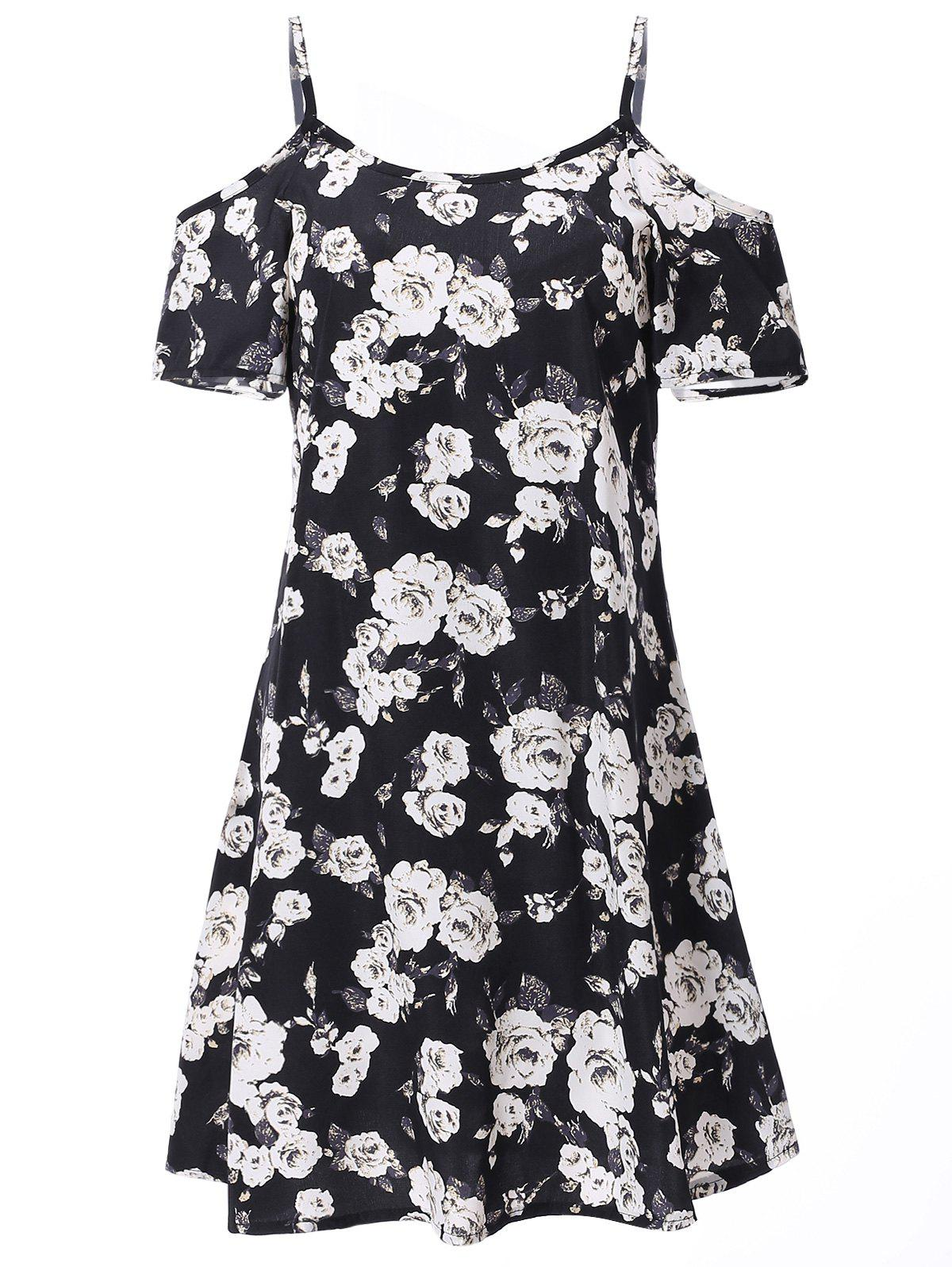Fashionable Short Sleeve Spaghetti Strap Floral Print Women's Dress