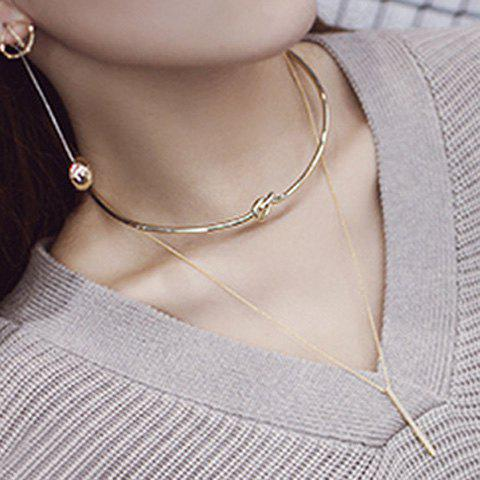 Vintage Layered Bar Necklace For Women - GOLDEN