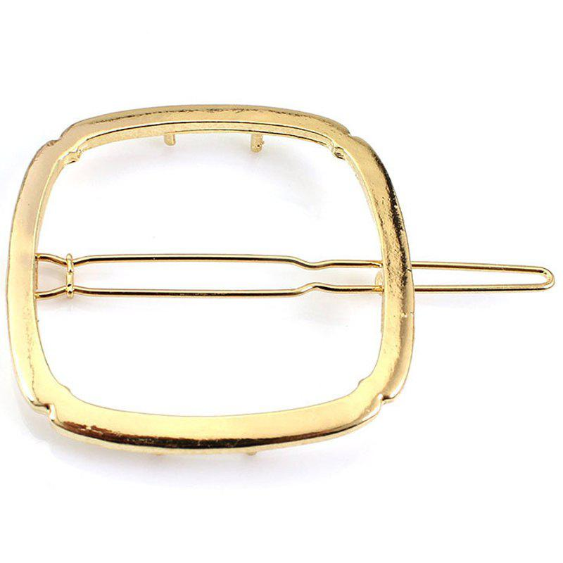 Simple Solid Color Geometric Square Hairpin For Women - GOLDEN