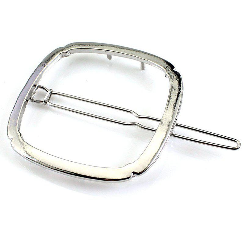 Simple Solid Color Geometric Square Hairpin For Women - SILVER