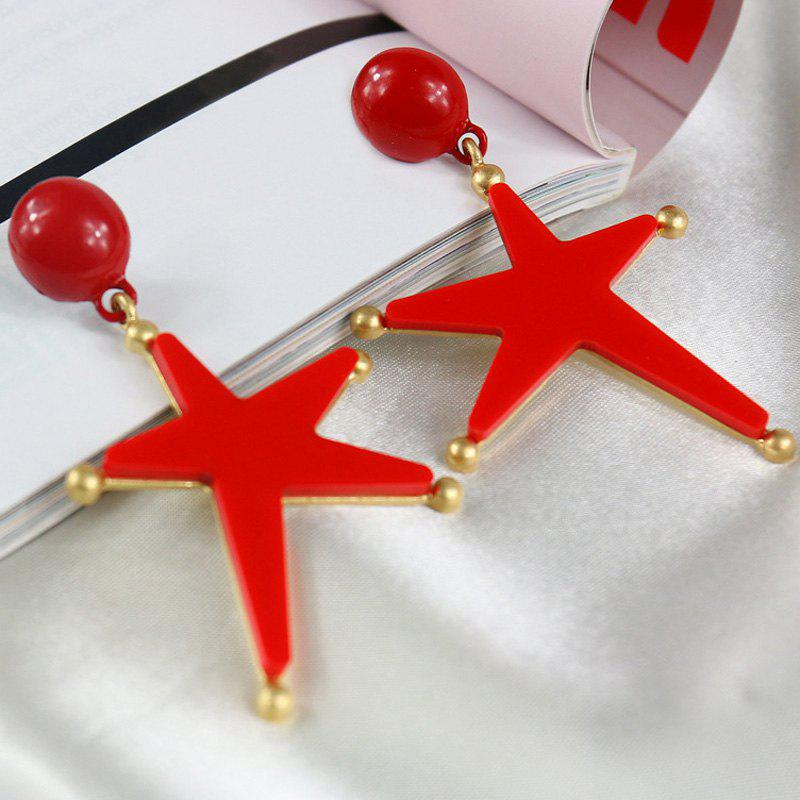 Bead Star Drop Earrings - RED