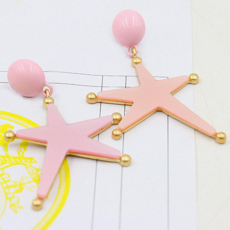 Bead Star Drop Earrings - PINK
