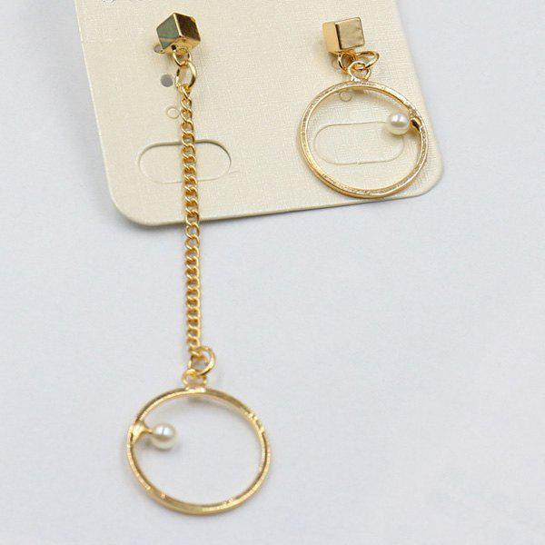 Pair of Chic Asymmetric Faux Pearl Geometric Earrings For Women
