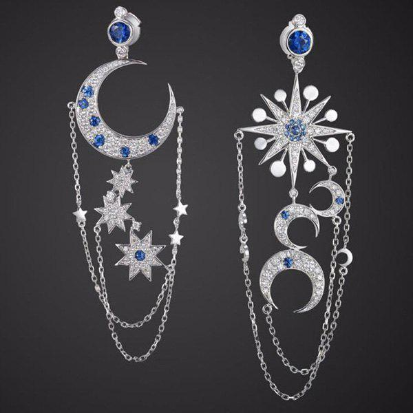 Pair of Chic Asymmetric Star Moon Earrings For Women - SILVER