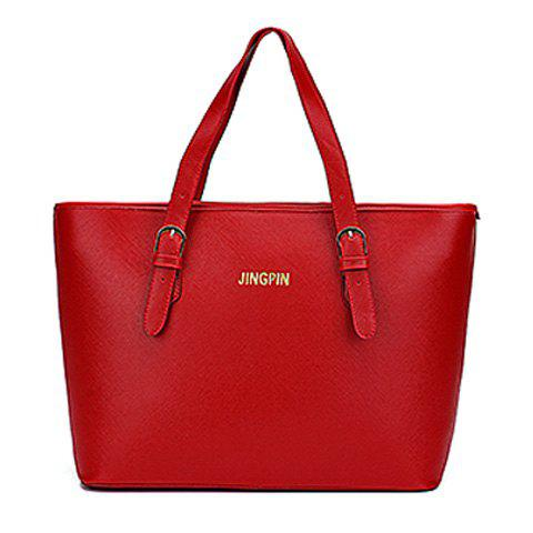 Stylish Solid Colour and Buckles Design Women's Shoulder Bag - RED