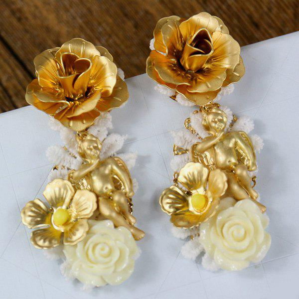 Pair of Chic Angel Feather Floral Earrings For Women - GOLDEN