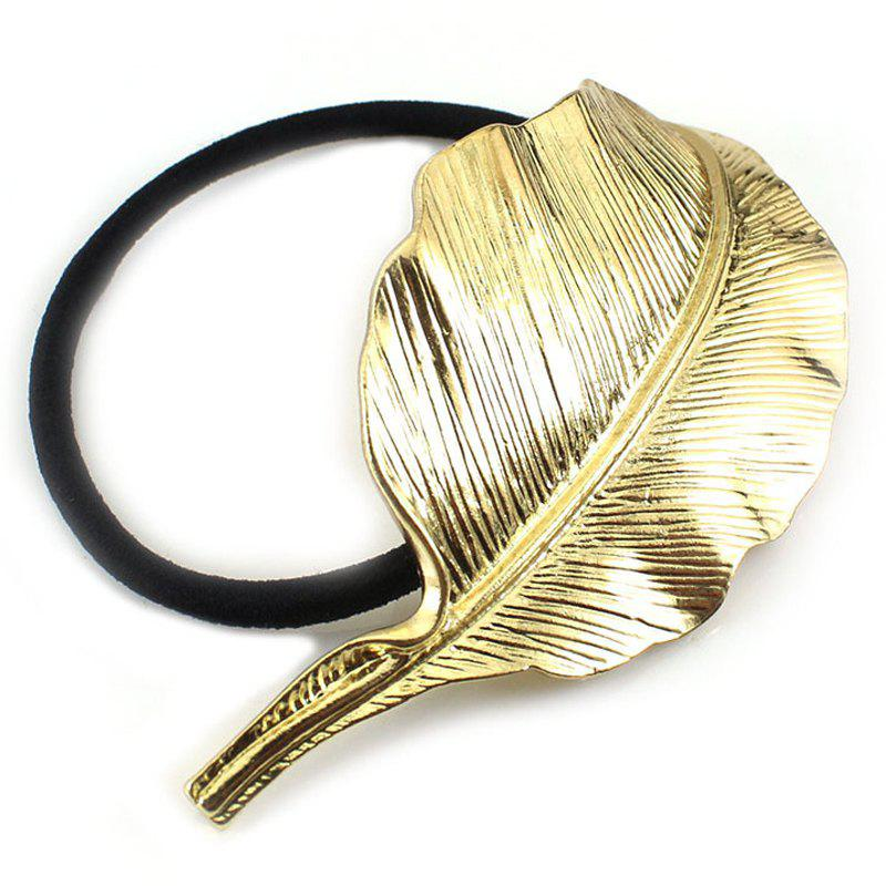 Simple Big Leaf Elastic Hair Band For Women - GOLDEN