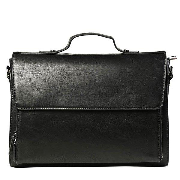 Casual Black Color and Cover Design Men's Messenger Bag - BLACK