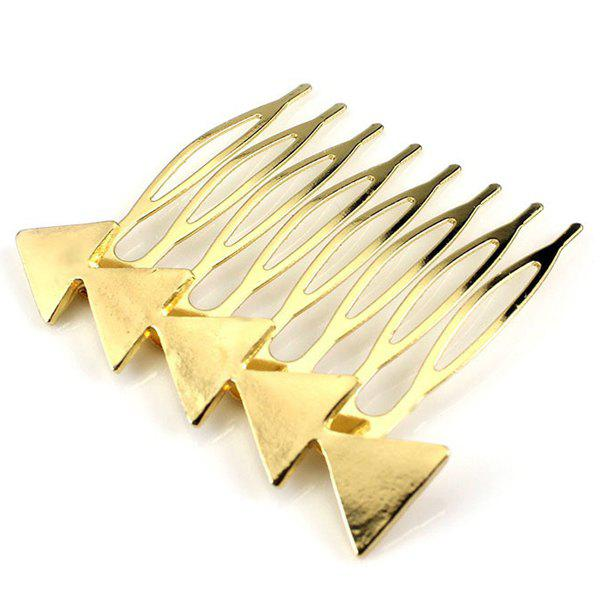 Simple Solid Color Triangle Hair Comb For Women - GOLDEN