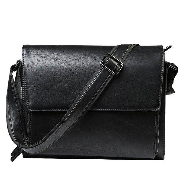 Casual Black Color and Zip Design Men's Messenger Bag - BLACK