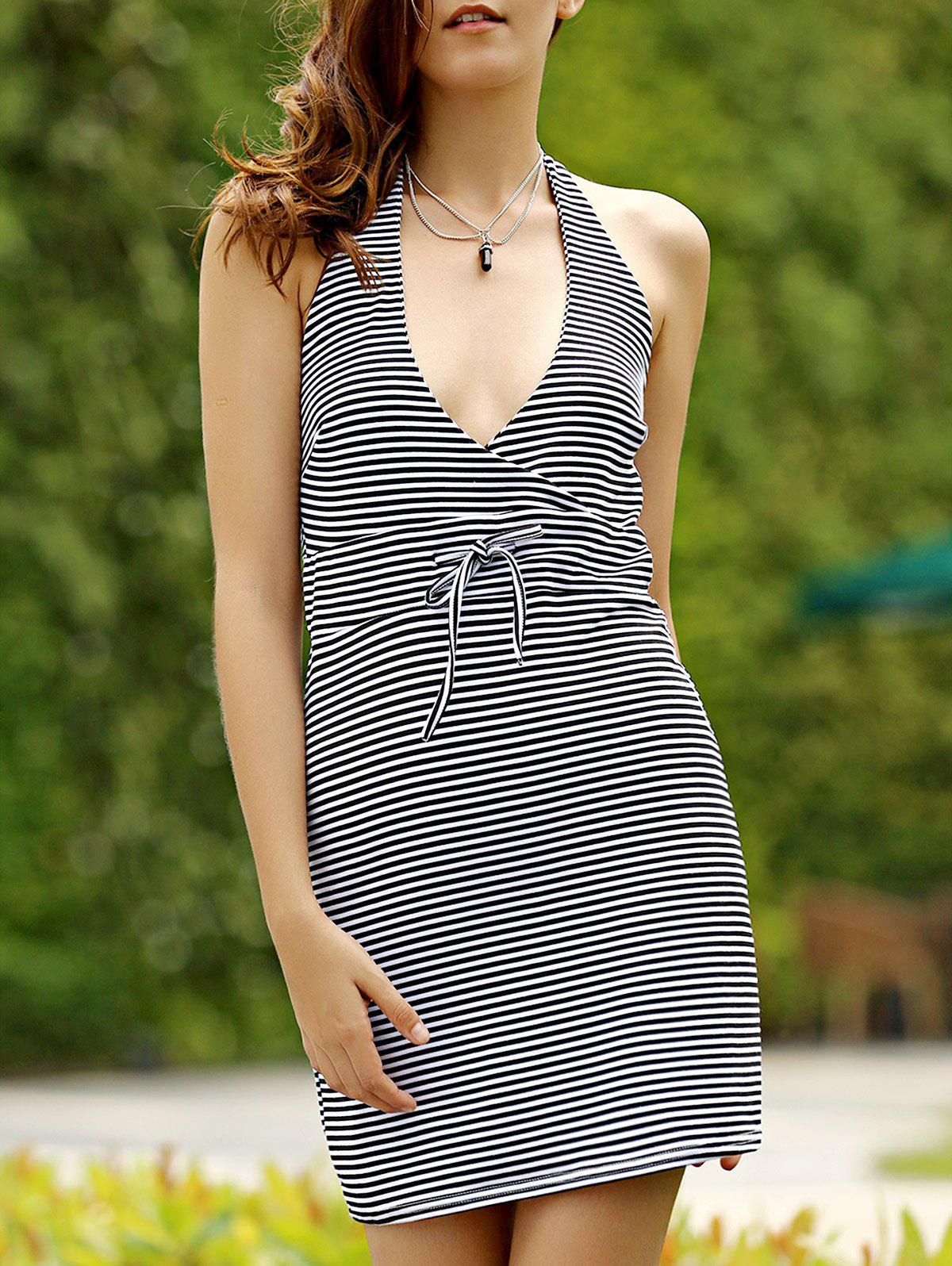 Leisure Style Halter Backless Striped Women's Mini Dress