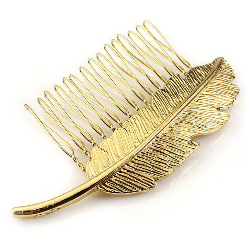 Simple Golden Leaf Hair Comb For Women - GOLDEN