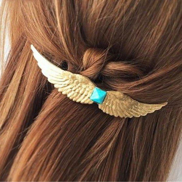 Simple Faux Gem Wing Hairpin For Women - GOLDEN