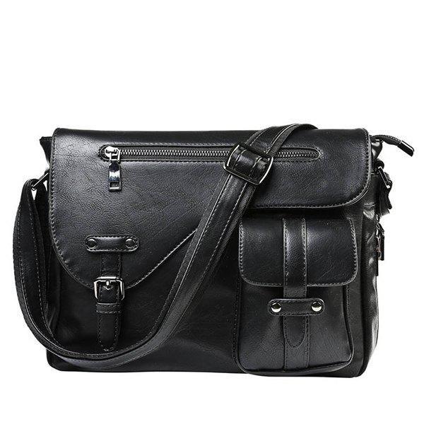 Leisure Stitching and Buckle Design Men's Messenger Bag -  BLACK