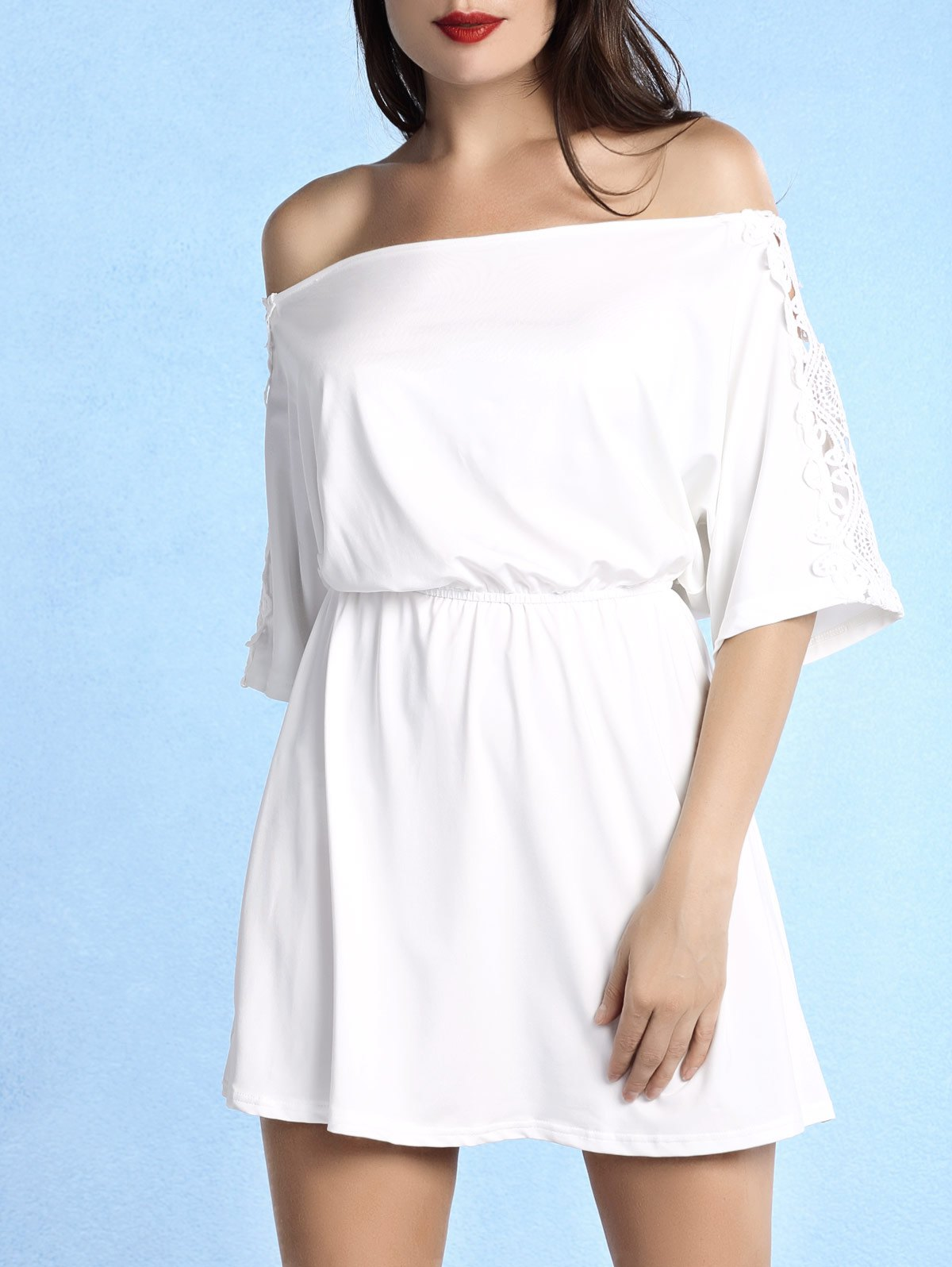 Stylish Off The Shoulder Lace Spliced Women's White Dress - WHITE M