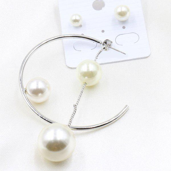 A Suit of Charming Faux Pearl Earrings For Women -  WHITE