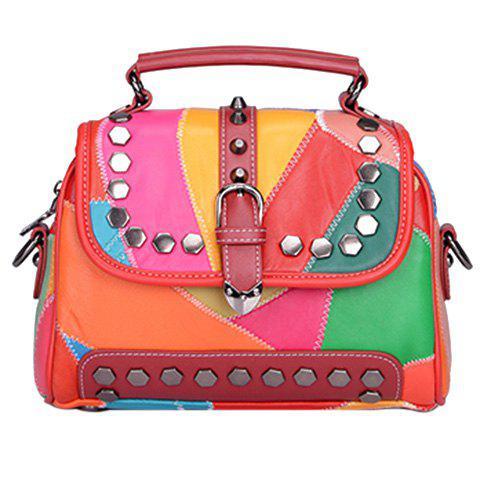 Stylish Metal and Multicolor Design Women's Shoulder Bag - COLORMIX