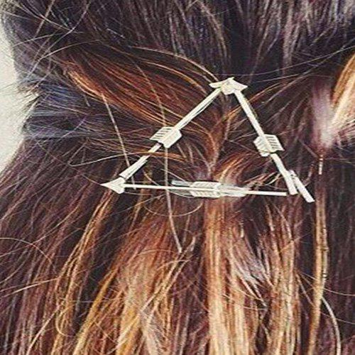 Simple Solid Color Arrow Triangle Hairpin For Women - SILVER